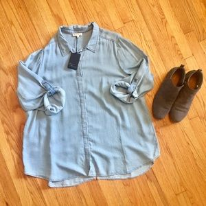Chambray Button Up Shirt by Jane and Delaney